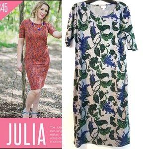 XL Lularoe Julia Dress NWT, Gray with Vines, 18/20